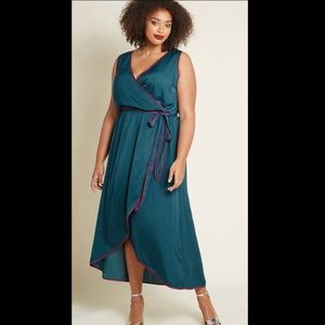 ModCloth Green Faux Wrap Belted Maxi Dress 4X